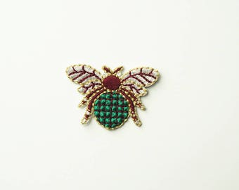 Green Fly  Embroidered Iron On Applique Patch DIY Sew-on
