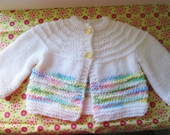 Less-Than-Perfect Baby Sweater, White Baby Sweater, Multi-Colored White Baby Sweater, Boy's Baby Sweater, Girl's Baby Sweater, Baby Easter