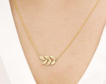 Gold Leaf Necklace, Leaf Necklace, 14K Solid Gold Necklace, Engraved Leaf Pendant, Gift for Her, Dainty Necklace, Leaf Simple Necklace, Fall