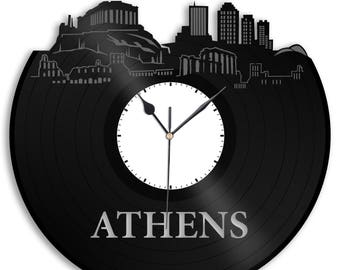 Athens Clock, Greece Wall Art, Greek Decoration, Gift For Her, Repurposed Personalized Vinyl Record Wall Clock, Office Clock, Unique Decor