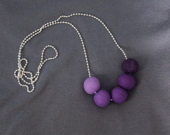 Polymer clay necklace in variations of Purple Ombre