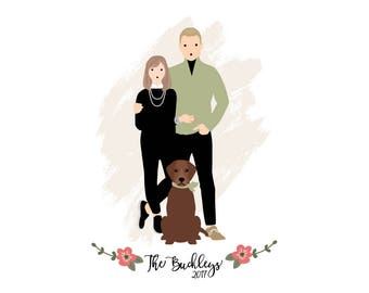 Custom Personalized Portrait Illustration One of a kind Couples Families Pets Wedding or Anniversary etc