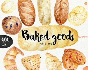 Watercolor Baked goods clipart 600 dpi PNG, food collection clipart, PNG on transparent background for scrapbooking, DIY cards