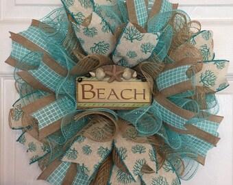 "17"" Beach Deco Mesh Wreath with ""Beach"" Sign (Aqua & Burlap)"