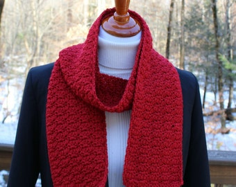 Red Shell Scarf, Crochet Red Scarf, Wool Blend Scarf