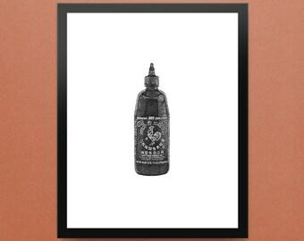"Sriracha Hot Sauce - 8x10"" Limited Edition Fine Art Digital Giclee Print"