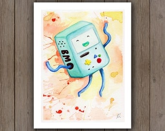 Watercolour Art Print - BMO Adventure Time / Happy Cute Gameboy / Splatter Handpainted Watercolor Painting / Awesome Geek Gift