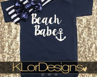 Beach Babe onesie, Baby Girl Onesie, Anchor onesie, Nautical Onesie, baby shower gift, Summer onesie