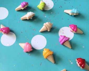 Rainbow Ice Cream Button Cabochons