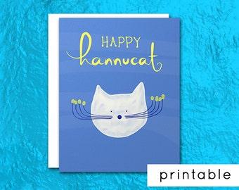 printable hanukkah card, happy chanukah greeting card, cat hannukah card, happy hannukah, hanukkah greetings, funny, jewish gift, judaica