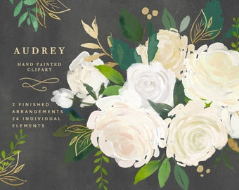 Audrey - Hand illustrated Flower Clip Art. Digital graphics for use on a variety of projects.