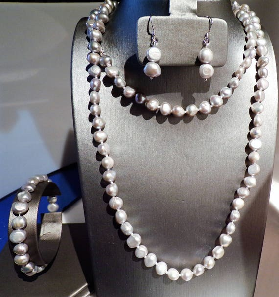 3 feet Silvery Grey Freshwater Pearls with matching earring and bracelet