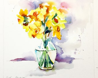 "Original Watercolour - Free delivery ""Bouquet of yellow daffodils flowers daffodils"" (still life vase of yellow flowers spring)"