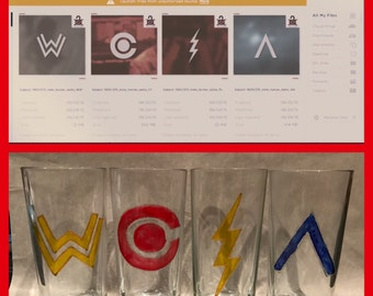 Justice League inspired highball glassess hand painted
