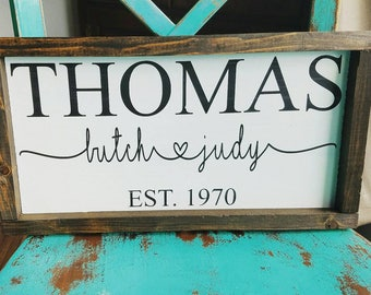 Framed last name and established year wood sign, rustic wedding gift, anniversary gift.