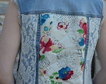 Upcycled women's denim vest, size small