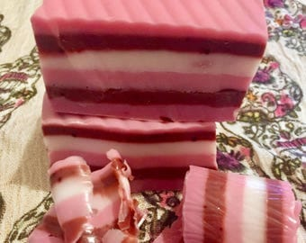 Pink layered soap strawberry scented