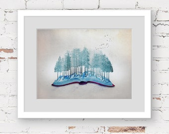 green forest art print, book lover art, book illustration print, forest landscape art, nursery art print, childrens art, teen room art print