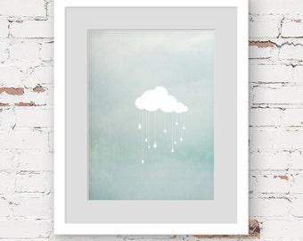 Cloud wall art print, green modern art print, green nursery art, neutral nursery art, cute wall art print, kids art print, modern nursery