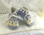 Powder Blue with Velvet Bunnies Pure Wool Felt Baby Booties. Fully Lined. Gift Boxed. 03 months OOAK