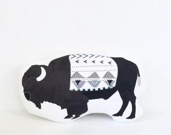 Buffalo, Buffalo Plush, Buffalo Pillow, Gift, Baby Gift, Kid Gift, Girl Gift, Boy Gift, Bison, Tribal Pillow, Nursery Pillow, Southwestern