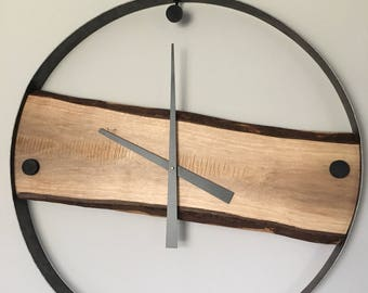 Modern Wall Clock | Black Walnut | Live Edge
