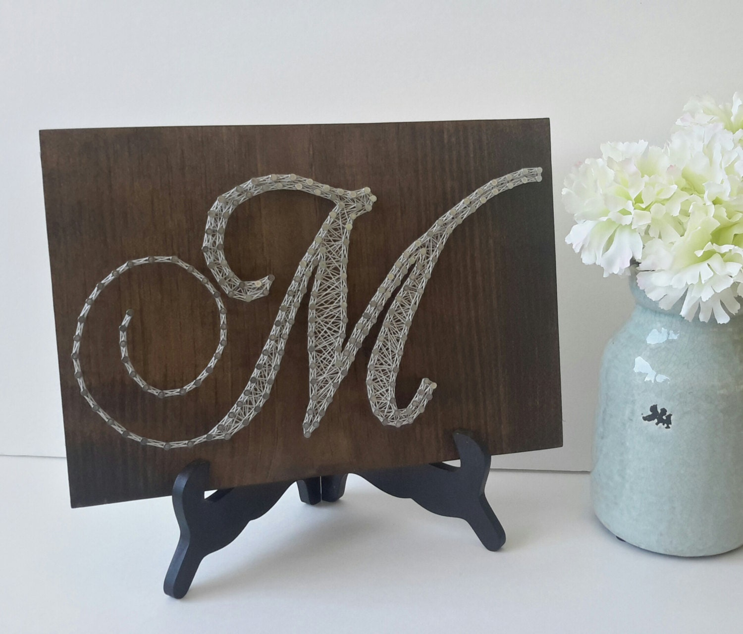 Letter M Wall Decor Personalized String Art Gift For Bride