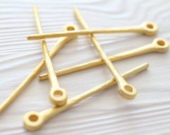2pc dagger pendant, matte gold, stick pendant, dagger, boho long pendant, rustic pendant, vertical metal pendant, stick pendant, large hole