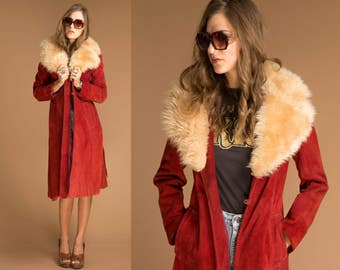 1970's Vintage Suede Groupie Coat with Shearling Collar // Red Suede Faux Fur // 60s 70s Penny Lane Jacket // Vintage Sheepskin Coat