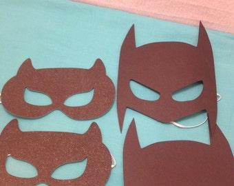 Batman and Cat Woman Party Mask, Batman Party Mask, Cat Woman Party Mask, Batman and Cat Woman Birthday Party Supplies, Set of 6