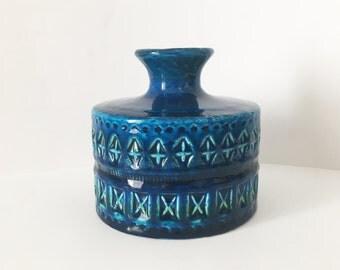Mid century Ceramic Vase REFERENCE BITOSSI  - Aldo Londi - Rimini Blu