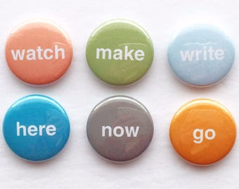 Set of 6 Flair Badges {simple words}