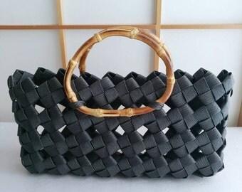 Black handbag, handbag, minimal bag, summer bag, kimono bag, Japanese, bamboo, eco friendly, gift, birthday,