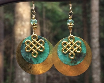 Celtic earrings, Celtic jewelry, hammered brass, patina, Irish, wire wrapped, Saint Patrick's Day