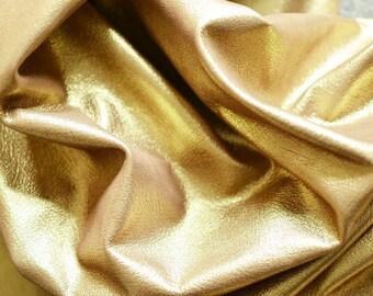 Gold Golden Leather Hide 15 sq ft 1.5 sq mt - 21 sq ft  2 sq mt  1 mm Italian Genuine Leather  Half Hide Metallic Yellow Gold Leather b761