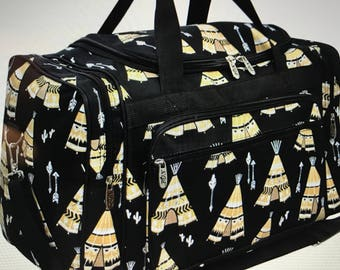 Monogram Duffle-Teepee Duffle Bag-Personal Duffle-Custom Duffle Bag- Personalized Gift-Duffle Bag-Tribal Duffle- Travel Bag-Arrow Duffle Bag