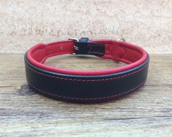 Dog collars, collar, leather collar for dogs, wide, soft custom made padded,