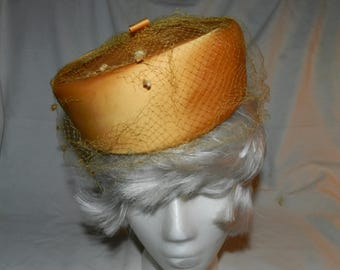 Yellow Hat - Vintage Ladies Golden Yellow Pillbox Style hat with netting - Mid Century Modern Retro design Women's Fashion Accessory   A3-22