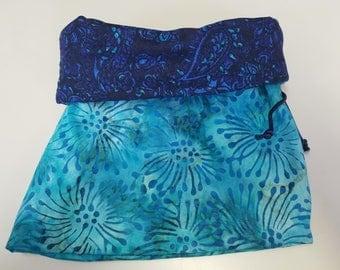 Navy & Teal Print reversible Drawstring Bag