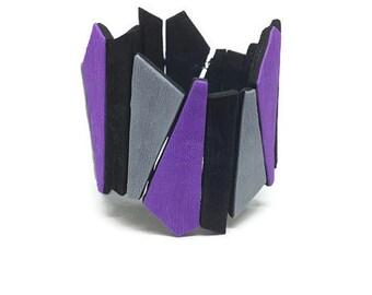 Purple bracelet, Chunky bracelet, Trendy bracelet, Unique bracelet, Geometric bracelet, Purple jewelry, Large cuff bracelet, Modern bracelet