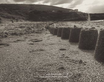 Castles • Croyde Beach Photography. Original Devon Coast Art Print. Sandcastles Picture. Seascape, Ocean, Beach Headland. Coastal Decor.