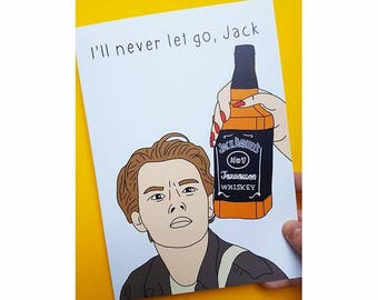 A5 Funny Quirky Jack Daniels Whiskey Jack Dawson Rose Titanic Birthday Card / Any Occasion Card