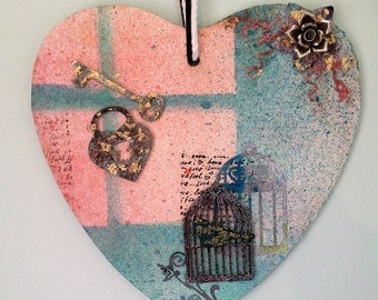 Unlock your dreams and fly... - an original work of multi-media art on wooden heart