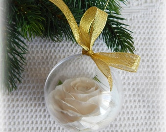 Christmas tree ornaments, Holiday ornament, Christmas decorations, Christmas ball, White ornament, Floral decor, Holidays gifts, Xmas gift