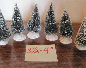 "Bottle Brush Christmas Trees, 6 Bottle Brush Trees, 3.5""-4"" Xmas Trees"