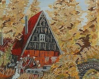 Картина «Водяная мельница» / Painting  «Water Mill»   - ватман на картоне, гуашь, 40 х 30 см