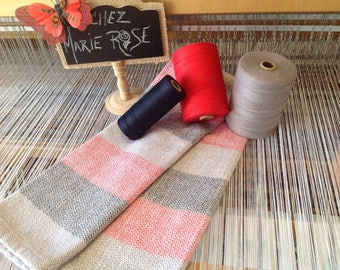 Towel completely handwoven grey, red and Black 100/100 woven cotton in workshop at Marie Rose