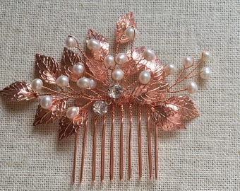 Rose Gold Bridal Hair Comb, Wedding Hair Accessories, Bridal hair accessories, gold wedding accessories, Bridal comb pearl