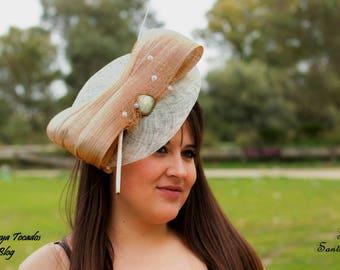 Invitada-tocado Pamela base crude and Golden, ideal wedding, events, guest / Fascinator, headpiece