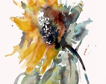 Original Watercolor 8 x 10  PRINT, loose yellow Sunflower Watercolor Painting, Sunflower Painting, Watercolor Sunflower